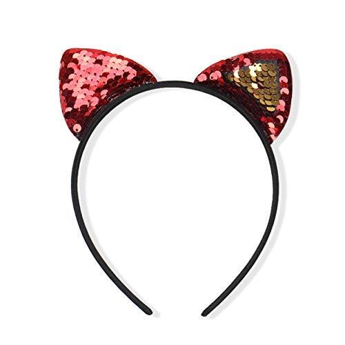 Wanjis Effektive Neueste Pailletten Mädchen Katze Ohr Stirnband Satin Haarband Kostüm für Geburtstag, Valentinstag, Jahrestag - Rot - Neueste Kostüm