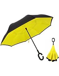 Depthlan Parapluie Inversé innovant, Parapluie Canne Double Couche Coupe-Vent, Mains Libres poignée en forme C - Idéal pour Voiture et Voyage (Jaune)