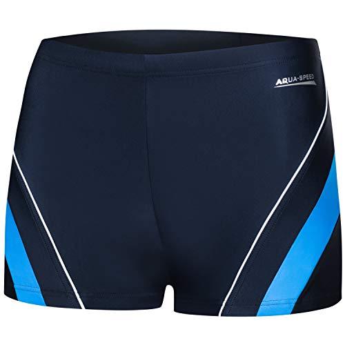 Aqua Speed Boxer Badehose für Herren   Schwimmhose UV   Badepants   Coole Trunks   Swim Pants Men I Männer Swimwear I Moderne Badebekleidung I Schwimmen I Dennis, Gr. XXXL, 42/Navy Blue