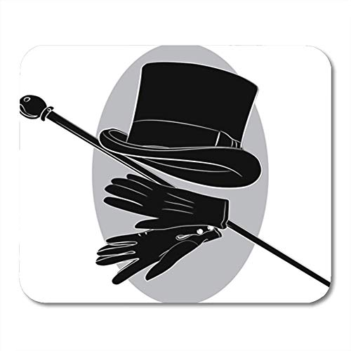 Gaming Mauspads, Gaming Mouse Pad Top Cylinder Hat Gloves and Walking Stick Cane Gentleman Magician Nobody Arm 11.8