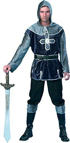 Erwachsene Kostümparty Mittelalter Ritter Kreuzfahrer Soldaten Herren Komplettes Kostüm - grau, (Erwachsene Ritter Kreuzfahrer Kostüme)