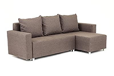 Oslo Corner Sofa Bed with Underneath Storage in Brown Linen Fabric from Abakus Direct