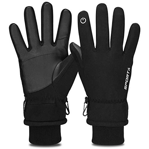 81f685e6921a6f Yobenki Cycling Gloves, Touchscreen Gloves Waterproof Winter Warm Gloves  with Cuff Anti Slip Thermal Gloves