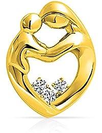 Bling Jewelry 925Plata de Ley Madre y niño familia CZ Corazón Colgante
