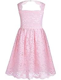 a8c2c0783ba Tiaobug Mädchen Ärmellos Spitzen Kleider Knielang rückenfrei Blumen Muster  Prinzessin Hochzeit Party Geburtstag Ball Kleid festlich…