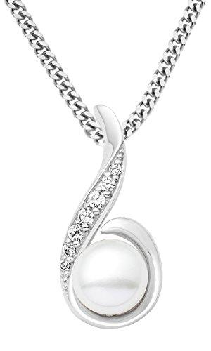 Miore-Damen-Halskette-925-Sterling-Silber-rhodiniert-mit-perle-und-Zirkonia-45-cm