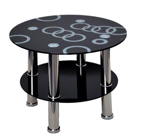 Table basse ronde - En verre de sécurité ESG de 8 mm et acier inoxydable - Noire