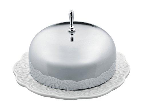 Alessi Mw16 Dressed Beurrier en Porcelaine avec Couvercle en Acier Inoxydable 18/10 Brillant