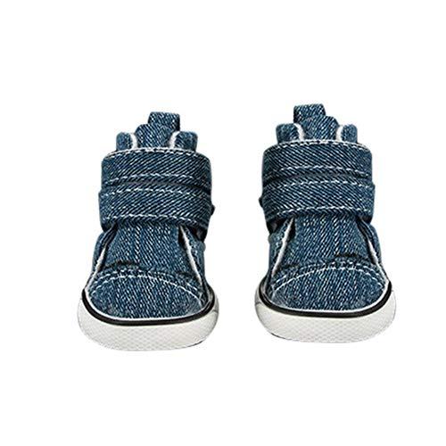 AMURAO Hund Schuhe Stiefel, Outdoor Warm Puppy Canvas Schuhe Sport Lässige Anti-Rutsch-Stiefel Jean Pet Schuhe (Marine Toms Schuhe)