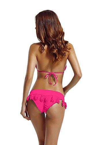 Zeraca Damen Freche Tassel Unteres Dreieck Bikini Badeanzüge Rosa Glo