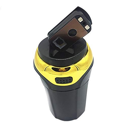 GaoXu YHG Tragbarer Auto-Aschenbecher, Edelstahl, Leicht Zu Reinigen, LED-Lichter Und Abnehmbare Feuerzeuge Für Die Meisten Auto-Cup-Halter (Farbe : Gold)