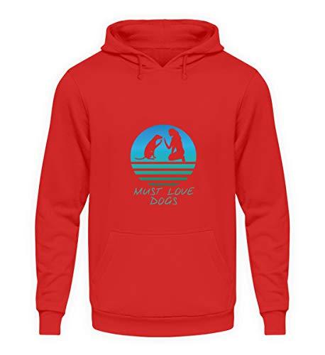 generisch Hunde Hunde Design Must Love Dogs - Unisex Kapuzenpullover Hoodie -S-Feuerrot Papillon T-shirt Sweatshirt