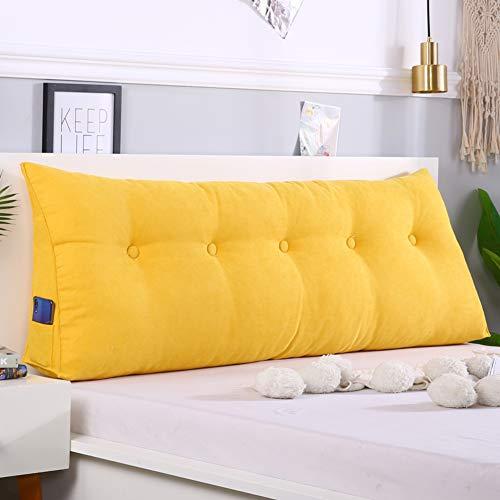 bel Keilkissen Dreieckige Kopfteil Kissen,-Sofa-Bett Kissen Bett Lesen Kissenbezug Rückenlehne Positionierung Support Pillow-zitronengelb Gelb 20x50x120cm(8x20x47inch) ()