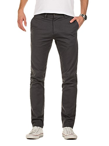 Yazubi Chino Hosen für Herren - Modell Kyle by YZB Jeans slim fit - Business Graue Chinohose Casual mit Stretch, Grau (Iron Gate 193910), W31/L30 (Hosen Casual Business)