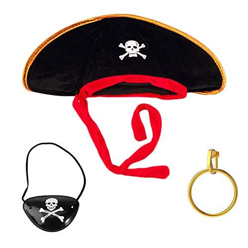 Pirat Für Kostüm Erwachsene Seemann - Trixes 3-teiliges Piraten-Kostümpaket als Verkleidung zu Kostümpartys Geburtstage Junggesellenabschiede Einheitsgröße Hut Augenklappe und Gold-Ohrring