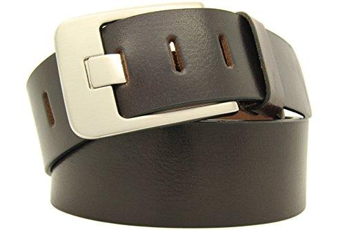 Echt LEDER Gürtel Herren Damen Büffelleder Voll-Leder Unisex Gürtel in Schwarz und Braun in 5cm Breite A2 (105cm, Braun) (Braun A2 Leder)