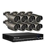 Techage 1080p PoE Surveillance à la maison Système de caméra de sécurité avec audio/vision nocturne/Détection de mouvement/alerte par email/visualisation à distance, sans disque dur, gris, gris