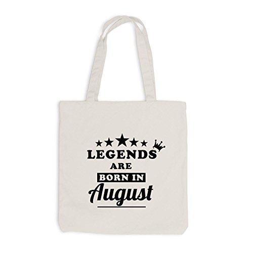Jutebeutel - Legends are born in August - Birthday Gift Beige