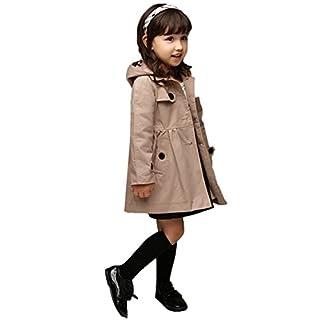 Arshiner Kinder Trenchcoat Jacken Mantel Windjacke Outwear Mädchen Khaki 100