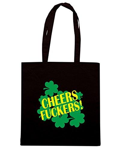 T-Shirtshock - Borsa Shopping TIR0020 cheers fuckers funny st pats green tshirt Nero