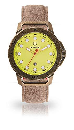 DETOMASO USTICO Herren-Armbanduhr Chronograph Analog Quarz Antique farbenes Edelstahlgehäuse gelbes Zifferblatt - Jetzt mit 5 Jahre Herstellergarantie (Leder - Sand)