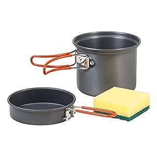 AceCamp Solo Kochset, Ultraleicht - 185 g, Kochtopf, Pfanne, 600 ml, Eloxiertes Aluminium, Anthrazit, Orange, 1666