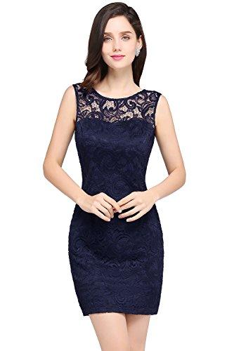 Damen Elegant Ämellos Spitzen Abiballkleid Abschluss Kleid mit Blumenstickerei Kurz Navy Blau 44