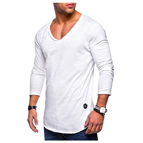 CuteRose Mens V-Neck Solid Color Summer Casual Long Sleeve Plus-Size Tees White S - Weiß Long Sleeve Thermal Tee