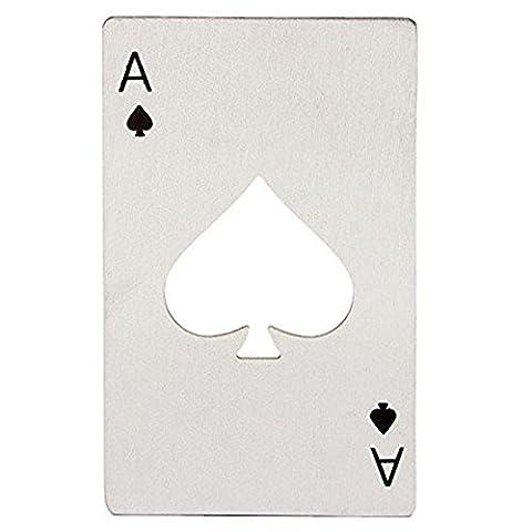 Yaxitu Générique en acier inoxydable carte de crédit Ouverture de bouteille de poker pour votre portefeuille - Argent