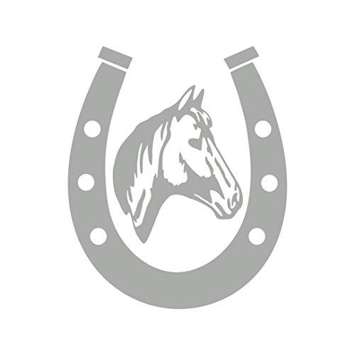 Folistick Hufeisen Pferd Aufkleber Reiten Pferdesport Decal Sticker Autoaufkleber (Silber)
