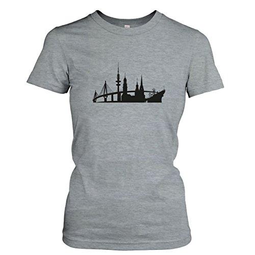 TEXLAB - Skyline Hamburg - Damen T-Shirt Graumeliert