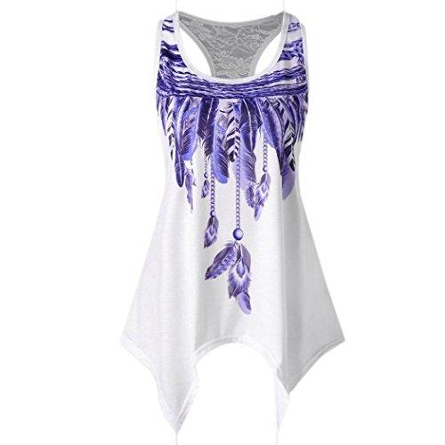 MRULIC Damen Fashion Basic Träger Feder ärmellosen Hemden Bluse Casual Tank Tops T-Shirt (M, Violett) (Casual Tank-top)
