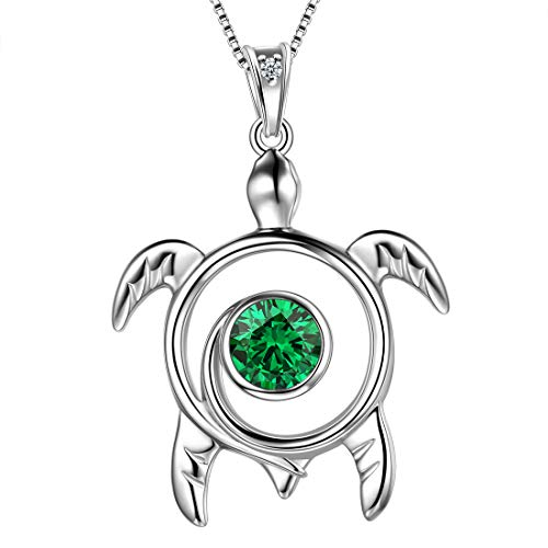 AuroraTears 925 Sterling Silber Schildkröte Halskette Tiere Anhänger Grün kann Birthstone Schmuck Geschenke mit Zirkonia für Frauen DP0172G
