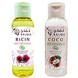 Huile de coco et Huile de ricin bio pure 100% naturelle (2X50ML) pressée à froid...