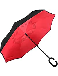 ShoppoZone Inverted Umbrella,Double Layer Reverse Umbrella for Car and Outdoor Use by, Windproof UV Protection Big Straight Umbrella With C-Shaped Handle