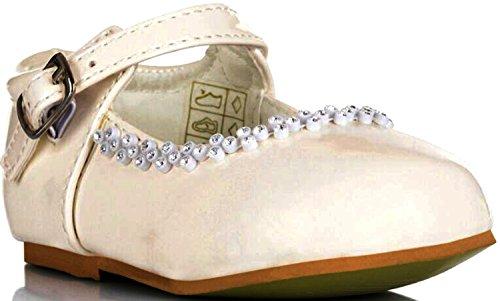 Mädchen-Partei-Hochzeits-Brautjungfern Taufschuhe Buckle Infants 1 2 3 4 5 6 7 8 (Elfenbein Kleinkind-mädchen-kleid-schuhe)