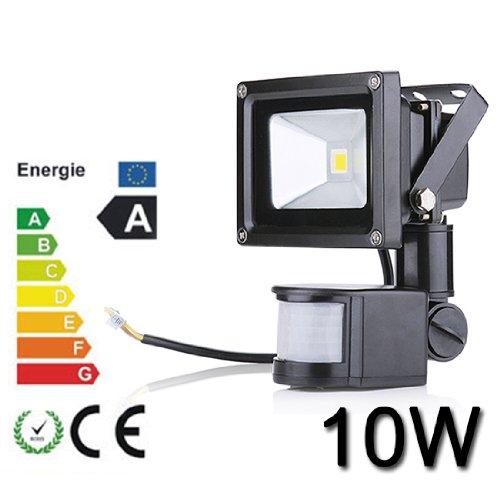 10W LED SMD Fluter Spot + Bewegungsmelder warmweiß Innen-Außenstrahler Objektbeleuchtung Strahler Flutlicht wasserdicht IP65,kein Stecker