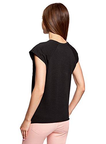 oodji Ultra Damen T-Shirt mit Sommerdruck Schwarz (2919P)
