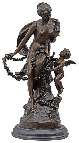 aubaho Bronzeskulptur nach Auguste Moreau Schlange Engel Frau Replik Kopie Antik-Stil -