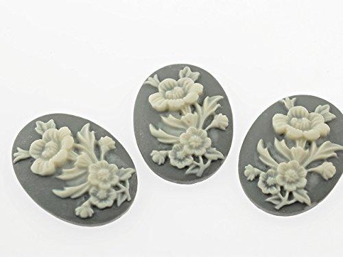 """4 Kameen """"Blumenstrauss"""" in grau und creme 30 x 22 mm von Vintageparts, DIY-Schmuck"""