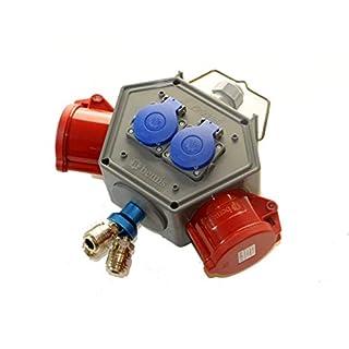 AW-TOOLS Stromampel Energieampel 3 x Druckluft + 2 x 230V Schuko + 2 x CEE 32A/400V Energiewürfel Versorgungseinheit