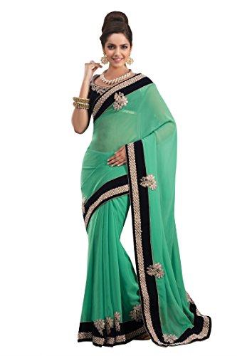 Chirag Sarees Synthetic Saree (2443-C_Green)