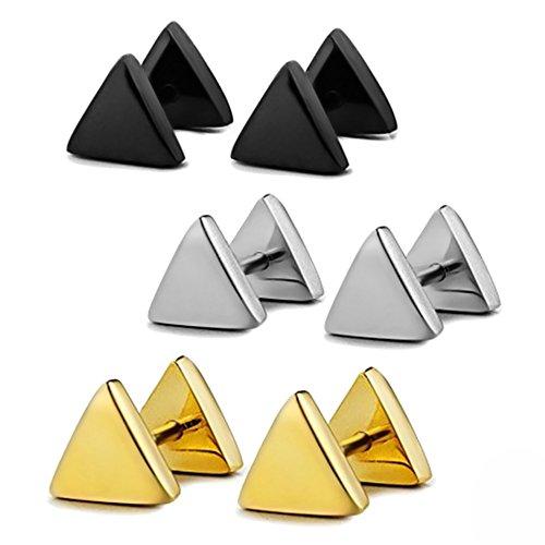 Vococal - 3 Pares de 3 Colors Pendientes de Acero de Titanio de Triángulo con diámetro de 6mm para Hombres Mujeres