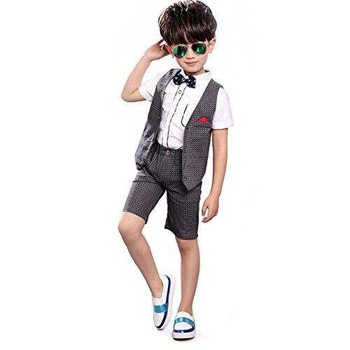 Zicac Jungen 4 Stücke Modern Fit Anzug Solide Kleid Anzug Jacke Weste Krawatte Hosen (Grau, Höhe 100 cm (Size 110)) (Jungen Stück Ein)