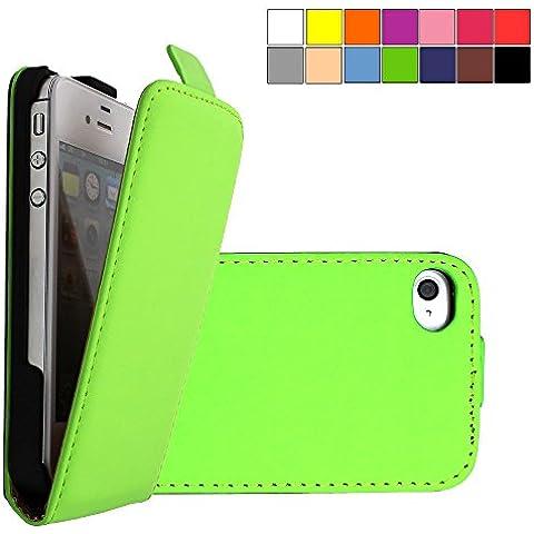 COOVY® COVER CASE CUBIERTA DELGADO FUNDA PROTECTORA CON TAPA PARA APPLE iPhone 4/4s con lámina projoectora de pantalla color