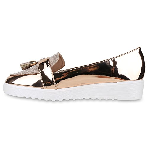 Damen Loafers Quasten Glitzer Slipper Profilsohle Dandy Geek Rose Gold
