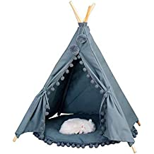 Möbel Tipi Teepee Kinderzelt 150 Cm Wigwam 3 Kissen Bodenmatte Sterne Grau Weiss