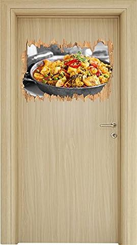 Appetitliche Fleischpfanne schwarz/weiß Holzdurchbruch im 3D-Look , Wand- oder Türaufkleber Format: 62x42cm, Wandsticker, Wandtattoo, Wanddekoration