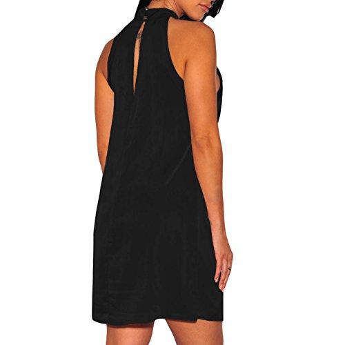 Toocool - Vestito donna miniabito aderente scollato elegante senza maniche nuovo DL-2076 Nero