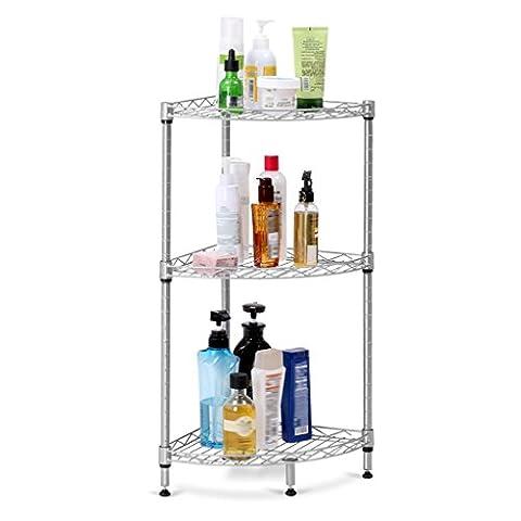 LANGRIA 3-Tier Corner Shelf, Free Standing Bathroom Shelf with Wire Mesh for Living Room, Kitchen, Office, Garage, 66lbs Weight Capacity, 11.8